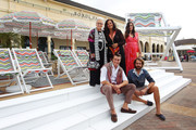 Rosita Missoni, Angela Missoni, Teresa Maccapani Missoni, (front) Giacomo Missoni, Rosita Missoni and Francesco Maccapani Missoni pose during a launch of a two-storey high 'Missoni for Target' deck chair on the Bondi foreshore on October 6, 2014 in Sydney, Australia. Angela Missoni and family have arrived in Australia to launch the 'Missoni for Target' collaboration on October 8.