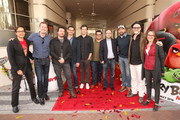 """(L-R) Executive producer David Maisel, executive producer Mikael Hed, actor Danny McBride, director Clay Kaytis, actor Bill Hader, actor Josh Gad, producer John Cohen, actor Jason Sudeikis, director Fergal Reilly, and producer Catherine Winder attend a photo call and Q&A session for a """"Sneak Beak"""" of Columbia Pictures and Rovio Animations' ANGRY BIRDS at Sony Pictures Studios on February 23, 2016 in Culver City, California."""