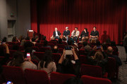 """(L-R) Producer John Cohen, actors Jason Sudeikis, Josh Gad, Danny McBride and Bill Hader attend a photo call and Q&A session for a """"Sneak Beak"""" of Columbia Pictures and Rovio Animations' ANGRY BIRDS at Sony Pictures Studios on February 23, 2016 in Culver City, California."""