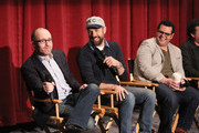 """(L-R) Producer John Cohen, actors Jason Sudeikis and Josh Gad attend a photo call and Q&A session for a """"Sneak Beak"""" of Columbia Pictures and Rovio Animations' ANGRY BIRDS at Sony Pictures Studios on February 23, 2016 in Culver City, California."""