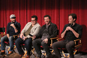 """(L-R) Actors Jason Sudeikis, Josh Gad, Danny McBride and Bill Hader attend a photo call and Q&A session for a """"Sneak Beak"""" of Columbia Pictures and Rovio Animations' ANGRY BIRDS at Sony Pictures Studios on February 23, 2016 in Culver City, California."""