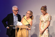 (L-R) John Slattery, Animal Haven Director Tiffany Lacey and Carolyn Murphy speak onstage during the Animal Haven Gala 2019 at Tribeca 360 on May 22, 2019 in New York City.