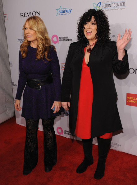 Arrivals at Elton John AIDS Foundation Benefit [heart,clothing,carpet,red carpet,premiere,fashion,event,flooring,dress,outerwear,little black dress,arrivals,ann wilson,nancy wilson,12th annual an enduring vision benefit,cipriani wall street,new york city,elton john aids foundation]