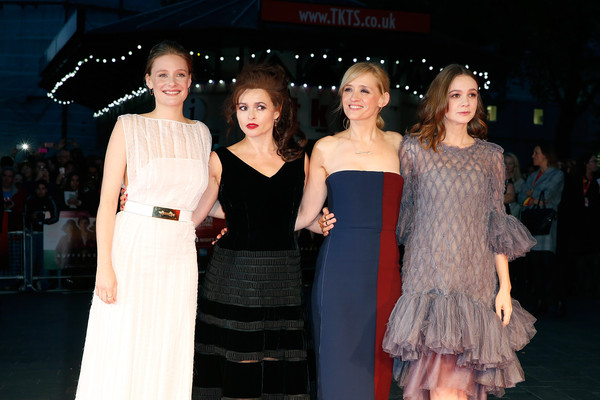 'Suffragette' - Opening Night Gala - BFI London Film Festival [fashion,clothing,dress,premiere,event,shoulder,fashion model,haute couture,fashion design,flooring,romola garai,anne-marie duff,carey mulligan,helena bonham carter,suffragette,leicester square,london,opening night gala - bfi london film festival,premiere,gala]