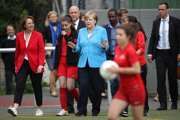 Annette Widmann-Mauz Merkel Visits Integration Project For Young Women Through Football