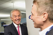 Tony Blair (L) and Tony Danza  attends the Annual Charity Day hosted by Cantor Fitzgerald, BGC and GFI at Cantor Fitzgerald on September 11, 2018 in New York City.