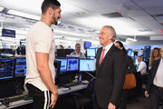 Enes Kanter (L) and  Tony Blair attends the Annual Charity Day hosted by Cantor Fitzgerald, BGC and GFI at Cantor Fitzgerald on September 11, 2018 in New York City.