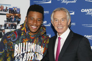 Saquon Barkley and Tony Blair attend the Annual Charity Day hosted by Cantor Fitzgerald, BGC and GFI at Cantor Fitzgerald on September 11, 2018 in New York City.