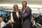 Larry Johnson and David Robinson attends the Annual Charity Day hosted by Cantor Fitzgerald, BGC and GFI at Cantor Fitzgerald on September 11, 2018 in New York City.
