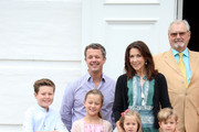 Prince Christian of Denmark, Crown Prince Frederik of Denmark, Princess Isabella of Denmark, Princess Josephine of Denmark, Crown Princess Mary of Denmark, Prince Vincent of Denmark and Prince Henrik of Denmark pose for photographers at the annual summer photo call for The Danish Royal Family at Grasten Castle on July 15, 2016 in Grasten, Denmark.