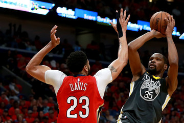 Anthony Davis Kevin Durant Golden State Warriors vs. New Orleans Pelicans - Game Four