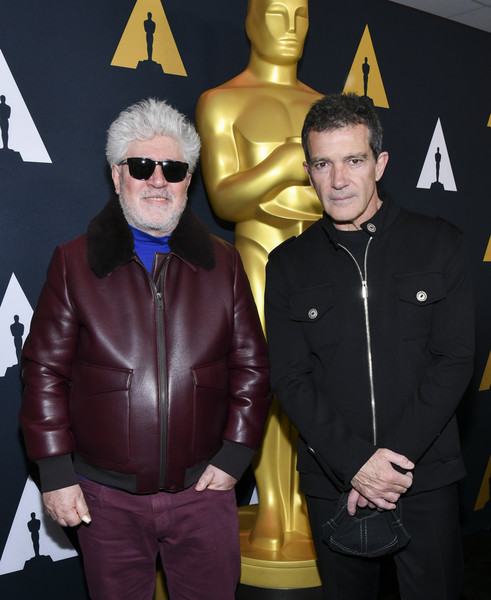 92nd Annual Academy Awards - Oscars Week: International Feature Film [week: international feature film,fictional character,outerwear,premiere,event,antonio banderas,pedro almodovar,l-r,beverly hills,california,samuel goldwyn theater,92nd annual academy awards,oscars week: international feature film,outerwear,fashion,jacket,costume,socialite,flooring,academy of motion picture arts and sciences,academy awards]