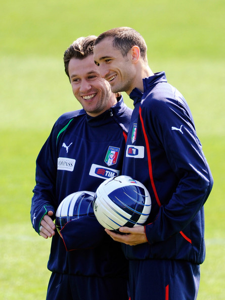 Antonio Cassano and Giorgio Chiellini - Italy Training Session