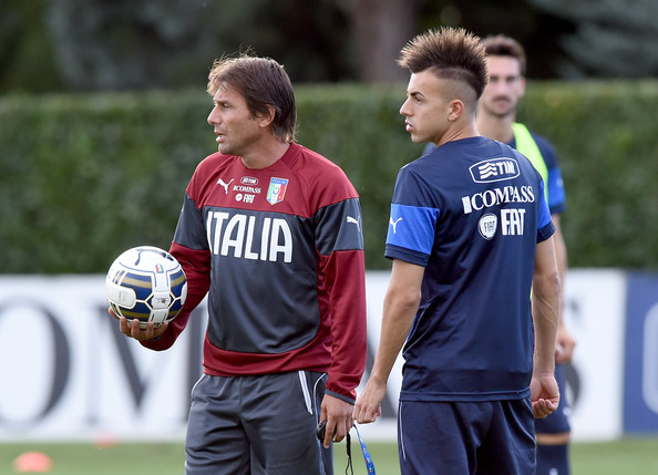 Italy Training Session  [player,sports,team sport,ball game,sports equipment,football player,youth,tournament,championship,soccer player,coach,stephan el shaarawy,antonio conte,italy training session press conference,l,italy,florence,coverciano]