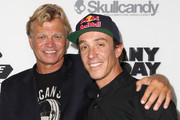"Director Dana Brown (L) and athlete / cast member Robbie Maddison arrive at the ""On Any Sunday, The Next Chapter,"" a film from Red Bull Media House, premiere at Dolby Theatre on October 22, 2014 in Hollywood, California.  The film releases nationwide on November 7."