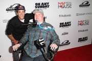 "Athlete / cast member Robbie Maddison (L) and Chris Ackerman arrive at the ""On Any Sunday, The Next Chapter,"" a film from Red Bull Media House, premiere at Dolby Theatre on October 22, 2014 in Hollywood, California.  The film releases nationwide on November 7."