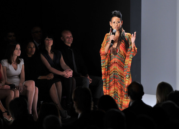 Anya Ayoung-Chee Designer Anya Ayoung-Chee speaks onstage at the Project Runway Spring 2012 fashion show during Mercedes-Benz Fashion Week at The Theater at Lincoln Center on September 9, 2011 in New York City.
