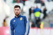 Lionel Messi of Argentina gestures during warmups prior to the Copa America Brazil 2019 Third Place match between Argentina and Chile at Arena Corinthians on July 06, 2019 in Sao Paulo, Brazil.