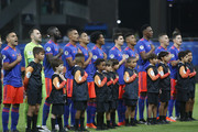 Players of Colombia line up for the national anthem prior to the Copa America Brazil 2019 group B match between Argentina and Colombia at Arena Fonte Nova on June 15, 2019 in Salvador, Brazil.