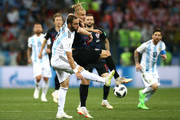 Gonzalo Higuain of Argentina battles for possession with Domagoj Vida of Croatia during the 2018 FIFA World Cup Russia group D match between Argentina and Croatia at Nizhny Novgorod Stadium on June 21, 2018 in Nizhny Novgorod, Russia.
