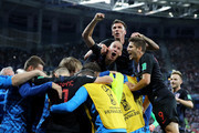 Luka Modric of Croatia celebrates with team mates after scoring his team's second goal during the 2018 FIFA World Cup Russia group D match between Argentina and Croatia at Nizhny Novgorod Stadium on June 21, 2018 in Nizhny Novgorod, Russia.