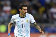 Angel Di Maria of Argentina controls the ball during the Copa America Brazil 2019 group B match between Argentina and Paraguay at Mineirao Stadium on June 19, 2019 in Belo Horizonte, Brazil.