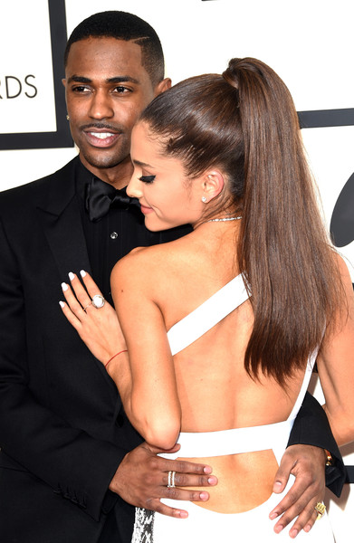 57th GRAMMY Awards - Arrivals [hair,hairstyle,chest,black hair,interaction,muscle,long hair,formal wear,dress,fashion accessory,arrivals,big sean,ariana grande,grammy awards,los angeles,california,staples center,l,the 57th annual grammy awards]