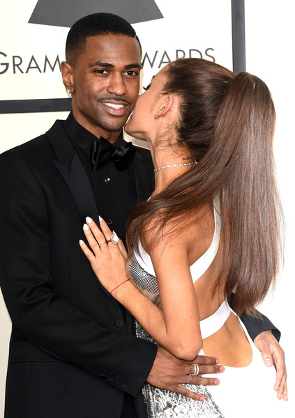 57th GRAMMY Awards - Arrivals [interaction,muscle,event,long hair,black hair,formal wear,suit,gesture,tuxedo,engagement ring,arrivals,big sean,ariana grande,grammy awards,los angeles,california,staples center,l,the 57th annual grammy awards]