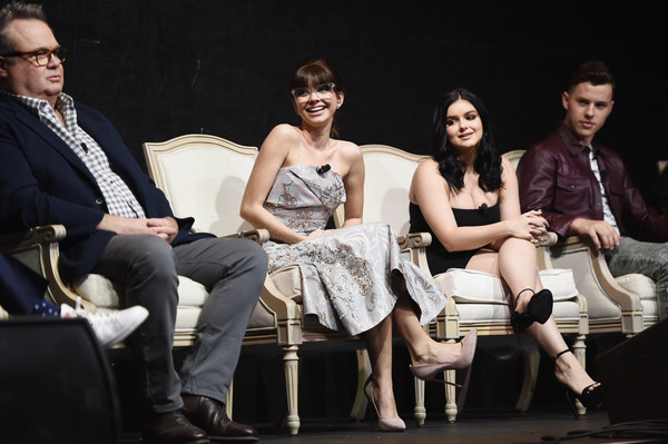 FYC Event For ABC's 'Modern Family' - Inside [modern family,fashion,event,performance,human,sitting,stage,fashion design,heater,photography,performing arts,actors,sarah hyland,ariel winter,eric stonestreet,l-r,abc,fyc,event,fyc event]