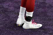 David Johnson #31 of the Arizona Cardinals wears rainbow patterned shoes for the NFL Crucial Catch cancer awareness program before the game against the Minnesota Vikings at U.S. Bank Stadium on October 14, 2018 in Minneapolis, Minnesota.