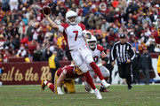 Quarterback Blaine Gabbert #7 of the Arizona Cardinals throws the ball in the second quarter against the Washington Redskins at FedEx Field on December 17, 2017 in Landover, Maryland.