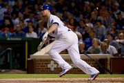 Jon Lester #34 of the Chicago Cubs hits a home run in the third inning against the Arizona Diamondbacks at Wrigley Field on August 1, 2017 in Chicago, Illinois.