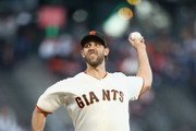 Madison Bumgarner #40 of the San Francisco Giants pitches against the Arizona Diamondbacks in the first inning at AT&T Park on August 28, 2018 in San Francisco, California.