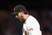 Madison Bumgarner #40 of the San Francisco Giants reacts after the Giants got the final out of the sixth inning, in which the Arizona Diamondbacks had the bases loaded but were unable to score, at AT&T Park on August 28, 2018 in San Francisco, California.