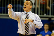 Head coach Billy Donovan of the Florida Gators points during the game against the Arkansas Little Rock Trojans at Stephen C. O'Connell Center on November 16, 2013 in Gainesville, Florida.