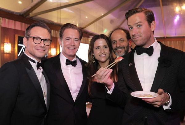75th Annual Golden Globe Awards After Parties - Best Of [suit,event,formal wear,tuxedo,tie,smile,best of,official viewing,parties,golden globe awards,party,christian slater,armie hammer,luca guadagnino,kyle maclachlan,desiree gruber]