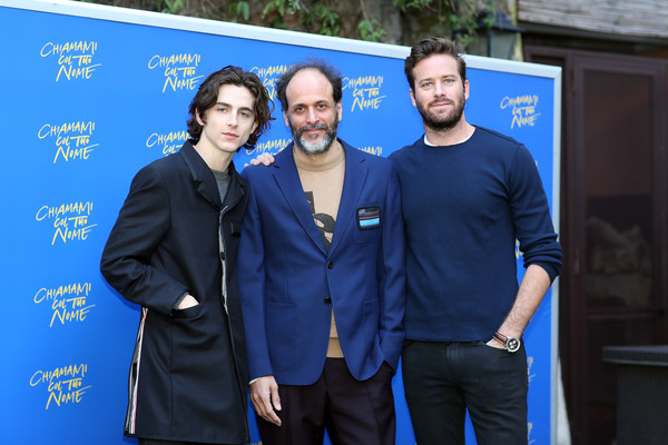 Chiamami Col Tuo Nome Photocall (Call Me By Your Name) In Rome [armie hammer attend chiamami col tuo nome,call me by your name at de russie hotel,event,electric blue,premiere,suit,white-collar worker,luca guadagnino,timothee chalamet,call me by your name,italian director,l-r,rome,italy,tuo nome photocall]