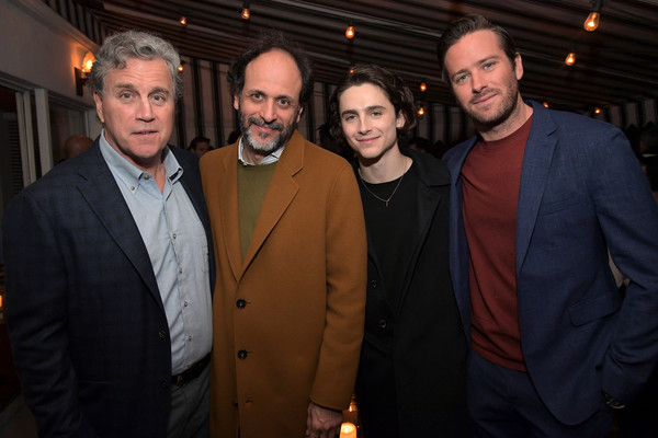 Vanity Fair, Barneys New York and Sony Pictures Classics Celebrate 'Call Me By Your Name' [sony pictures classics,vanity fair,barneys new york,call me by your name,l-r,event,suit,formal wear,night,white-collar worker,tom bernard,co-president,timothee chalamet,luca guadagnino,armie hammer]