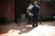 Army Secretary John McHugh (R) lays a wreath at George Washington's tomb June 9, 2015 at George Washington's Mount Vernon in Mount Vernon, Virginia. The U.S. Army held celebration for its 240th birthday.