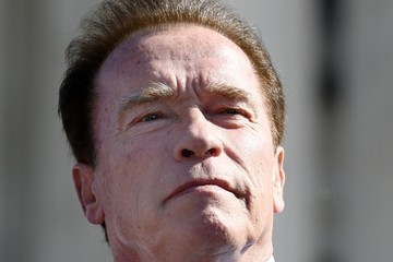 Arnold Schwarzenegger Activists Demonstrate Outside Supreme Court As Court Hears Case to Challenging Practice of Partisan Gerrymandering