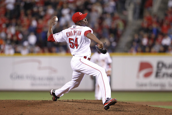 Aroldis Chapman Aroldis Chapman #54 of the Cincinnati Reds pitches against the Houston Astros at Great American Ball Park on September 28, 2010 in Cincinnati, Ohio. The Reds won 3-2 to clinch the NL Central Division title.