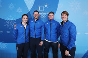 (L-R) Skeleton athletes Laura Deas, Dom Parsons, Jerry Rice and Lizzy Yarnold of Great Britain attend a press conference at the Main Press Centre during the PyeongChang 2018 Winter Olympic Games on February 11, 2018 in Pyeongchang-gun, South Korea.