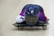 Shelley Rudman of Great Britain makes a run during a Women's Skeleton training session on Day 4 of the Sochi 2014 Winter Olympics at the Sanki Sliding Center  at  on February 11, 2014 in Sochi, Russia.