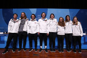 (L-R) Freestyle skiers Alex Ferreira, David Wise, Torin Yater-Wallace, Aaron Blunck, Devin Logan, Maddie Bowman, Brita Sigourney and Annalisa Drew of the United States attend a press conference at the Main Press Centre during the PyeongChang 2018 Winter Olympic Games on February 11, 2018 in Pyeongchang-gun, South Korea.