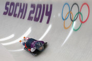 Shelley Rudman of Great Britain in action during a training session on Day 5 of the Sochi 2014 Winter Olympics at the Sanki Sliding Center on February on February 12, 2014 in Sochi, Russia.