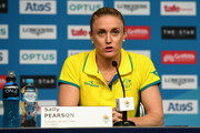 Sally Pearson of Australia speaks in a press conference as she withdraws from the the games due to injury on day one of the Gold Coast 2018 Commonwealth Games at Gold Coast Convention and Exhibition Centre on April 5, 2018 on the Gold Coast, Australia.