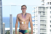 Mack Horton of Australia poses with his medals during a Speedo photo shoot at The Star Casino rooftop on day eight of the Gold Coast 2018 Commonwealth Games at Star Casino on April 12, 2018 on the Gold Coast, Australia.