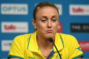 Sally Pearson of Australia looks thoughtful in a press conference as she withdraws from the the games due to injury  on day one of the Gold Coast 2018 Commonwealth Games at Gold Coast Convention and Exhibition Centre on April 5, 2018 on the Gold Coast, Australia.