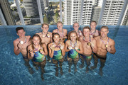 (Back row ) Jack Cartwright, Mack Horton, Clyde Lewis, David Morgan and Matthew Wilson, (Front row ) Brianna Throssell, Emma McKeon, Ariarne Titmus, Cameron McKevoy and Jake Packard during a Speedo photo shoot at The Star Casino rooftop on day eight of the Gold Coast 2018 Commonwealth Games at Star Casino on April 12, 2018 on the Gold Coast, Australia.