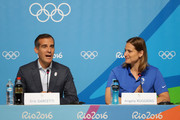 Eric Garcetti, mayor of Los Angeles, speaks as Olympian Angela Ruggiero looks on during a press conference on Day 4 of the Rio 2016 Olympic Games on August 9, 2016 in Rio de Janeiro, Brazil.